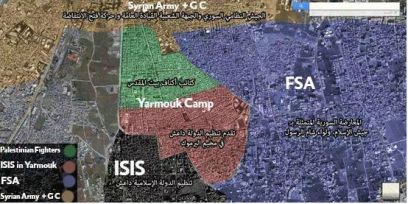 A map by Yarmouk 63 on who controls the camp