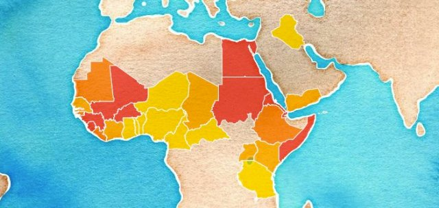 A map of rates of female genital mutilation across Africa and the Middle East